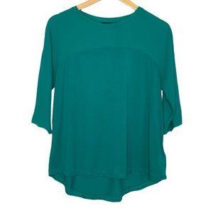 Tahari Teal Green Mesh Short Sleeves Top